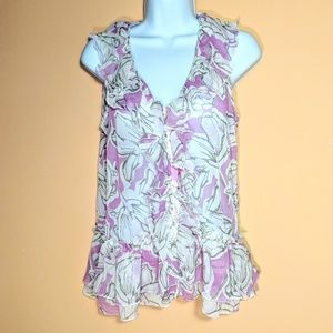 New York & Co. Sheer Lilac Floral  Top